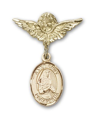 Pin Badge with St. Emily de Vialar Charm and Angel with Smaller Wings Badge Pin - 14K Solid Gold