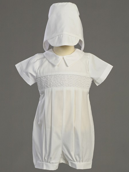 Jeremy Smocked Cotton Romper - White