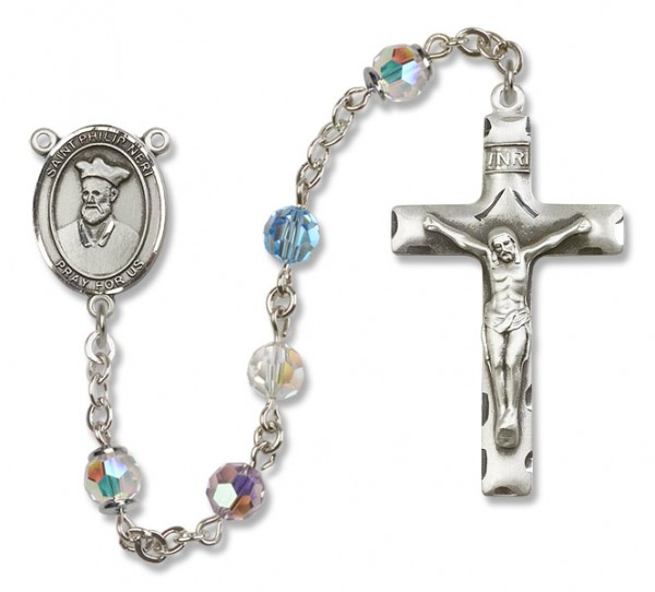 St. Philip Neri Sterling Silver Heirloom Rosary Squared Crucifix - Multi-Color