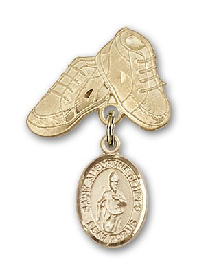 Pin Badge with St. Augustine of Hippo Charm and Baby Boots Pin - Gold Tone