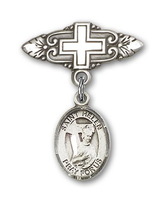 Pin Badge with St. Helen Charm and Badge Pin with Cross - Silver tone