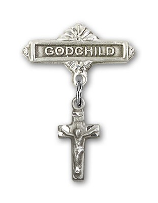 Baby Badge with Crucifix Charm and Godchild Badge Pin - Silver tone