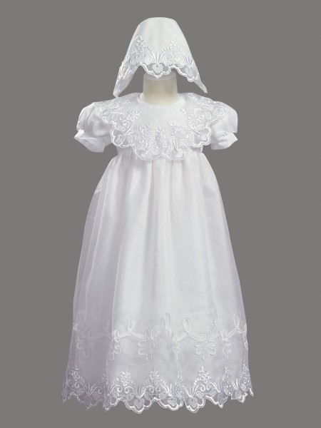 Long Embroidered Organza Baptism Gown - White