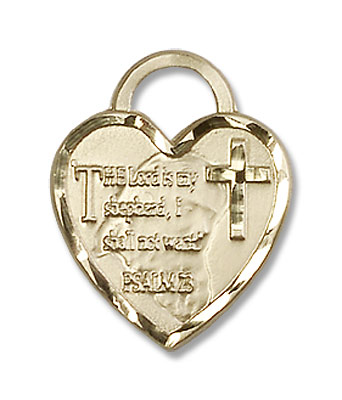 The Lord is My Shepherd Heart Pendant - 14KT Gold Filled
