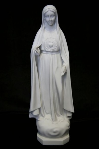 Our Lady of Fatima Statue White Marble Composite - 16 inch - White