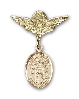 Pin Badge with St. Felicity Charm and Angel with Smaller Wings Badge Pin - 14K Yellow Gold