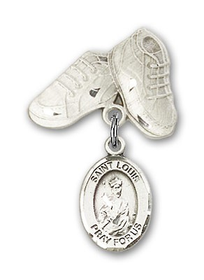 Pin Badge with St. Louis Charm and Baby Boots Pin - Silver tone