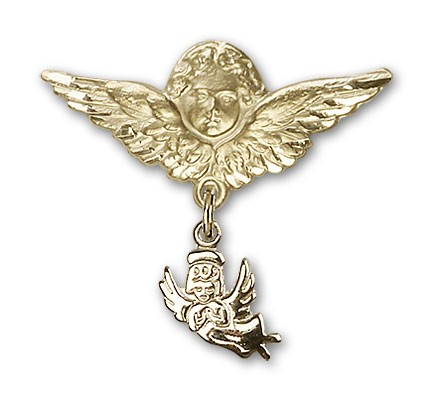 Baby Pin with Guardian Angel Charm and Angel with Larger Wings Badge Pin - 14K Solid Gold