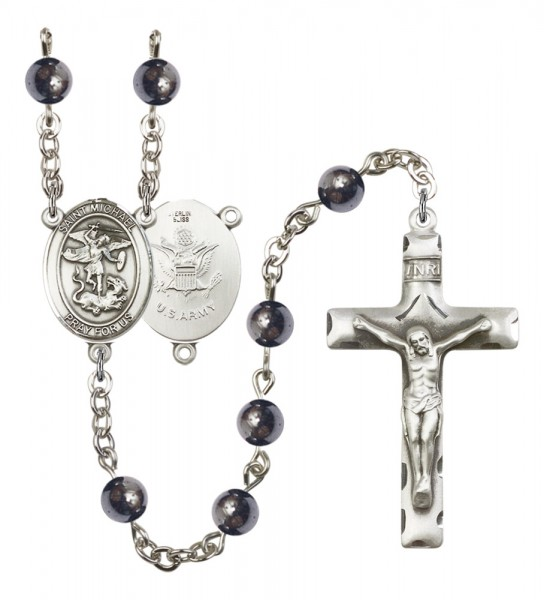 Men's St. Michael Army Silver Plated Rosary - Gray