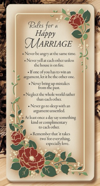Rules For A Happy Marriage Wall Plaque