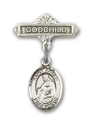 Pin Badge with St. Agnes of Rome Charm and Godchild Badge Pin - Silver tone