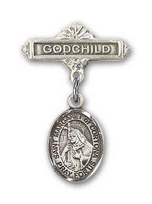 Pin Badge with St. Margaret of Cortona Charm and Godchild Badge Pin - Silver tone