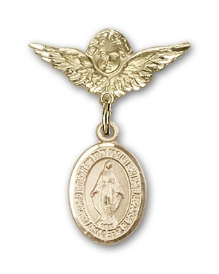 Pin Badge with Miraculous Charm and Angel with Smaller Wings Badge Pin - Gold Tone