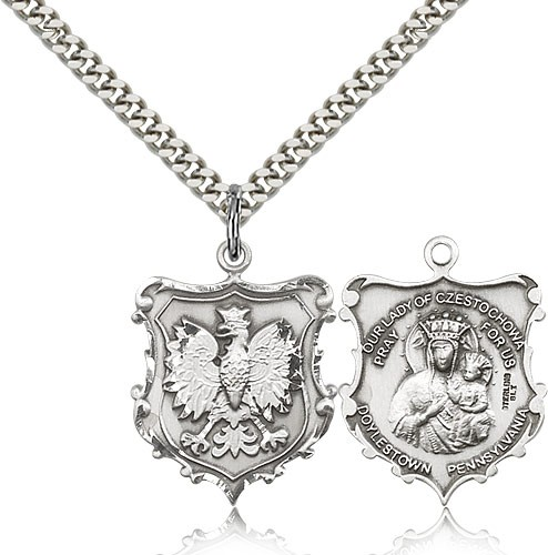 Sterling Silver Our Lady of Czestochowa Medal Pendant Charm