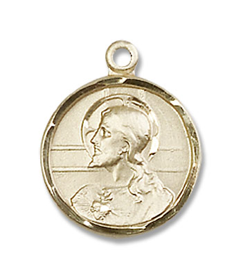 Double-sided Scapular Medal Pendant Round - 14K Yellow Gold
