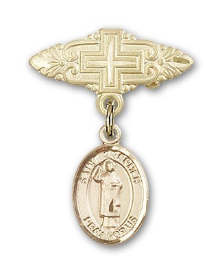 Pin Badge with St. Stephen the Martyr Charm and Badge Pin with Cross - 14K Solid Gold