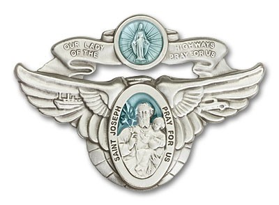Our Lady of the Highway & St Joseph Visor Clip - Blue | Silver
