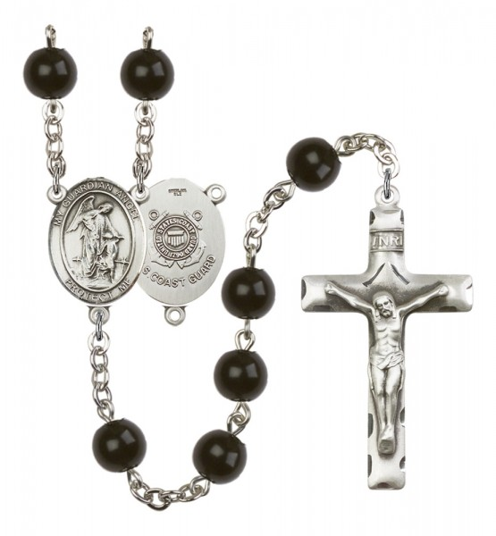 Men's Guardian Angel Coast Guard Silver Plated Rosary - Black