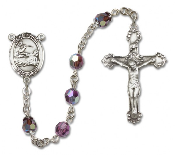 St. Joshua Sterling Silver Heirloom Rosary Fancy Crucifix - Amethyst
