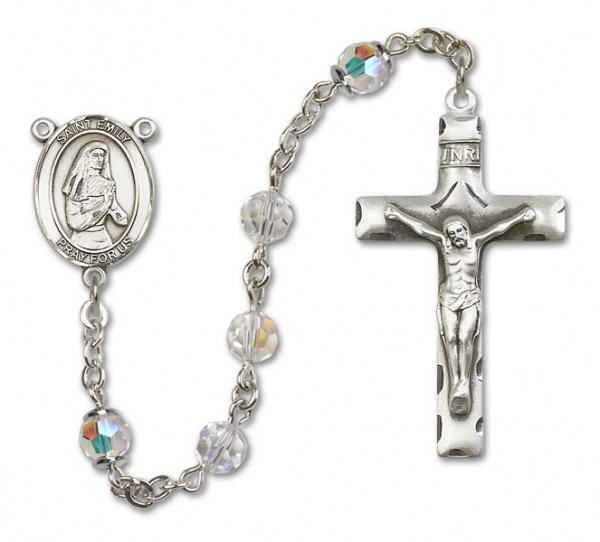 St. Emily de Vialar Sterling Silver Heirloom Rosary Squared Crucifix - Crystal