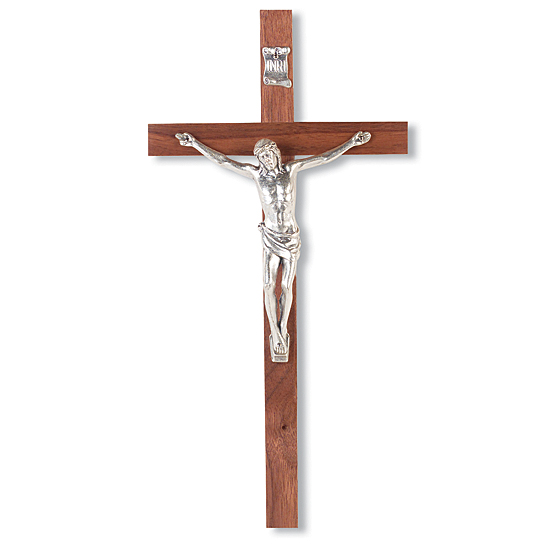 Silver-tone Corpus and Walnut Finish Wall Crucifix - 10 inch - Brown
