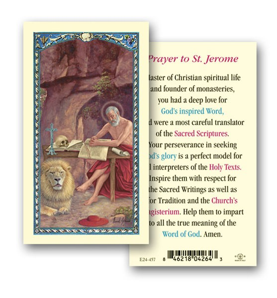 St. Jerome Laminated Prayer Cards 25 Pack - Full Color