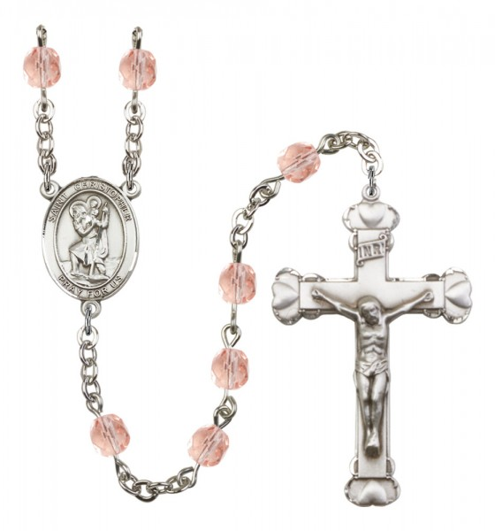 Women's St. Christopher Birthstone Rosary - Pink