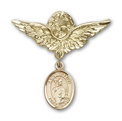 Pin Badge with St. Kilian Charm and Angel with Larger Wings Badge Pin - 14K Yellow Gold