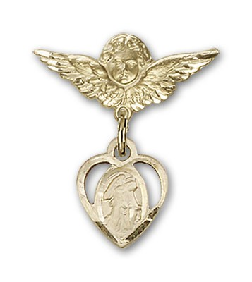 Pin Badge with Guardian Angel Charm and Angel with Smaller Wings Badge Pin - 14K Solid Gold