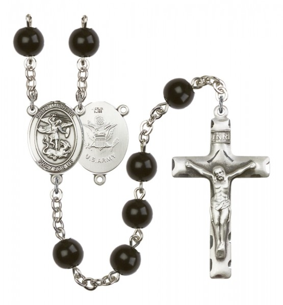 Men's St. Michael Army Silver Plated Rosary - Black