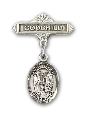Pin Badge with St. Fiacre Charm and Godchild Badge Pin - Silver tone