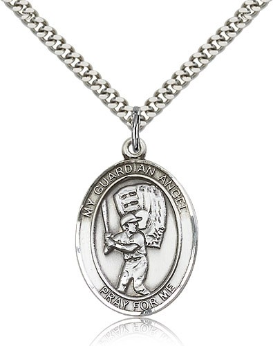 Guardian Angel Baseball Medal - Sterling Silver
