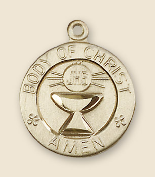 Youth Size The Body of Christ Medal - 14K Yellow Gold
