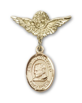 Pin Badge with St. John Bosco Charm and Angel with Smaller Wings Badge Pin - 14K Yellow Gold