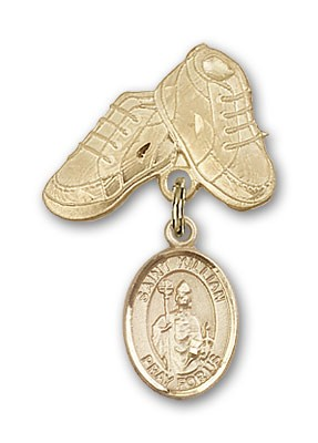 Pin Badge with St. Kilian Charm and Baby Boots Pin - 14K Yellow Gold
