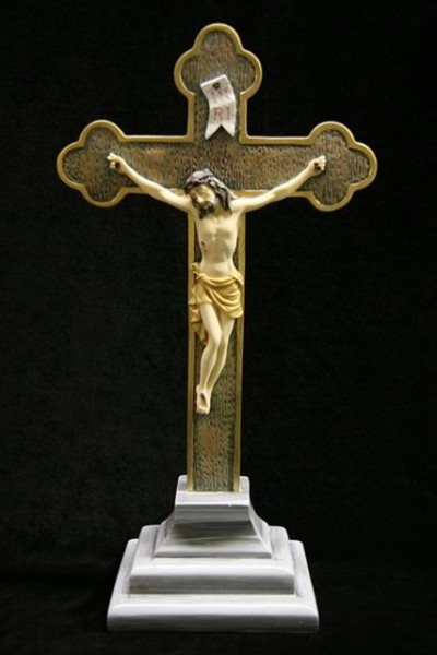 Standing Crucifix with Base Hand Painted Marble Composite - 14.5 inch - Multi-Color