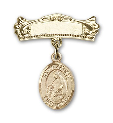 Pin Badge with St. Agnes of Rome Charm and Arched Polished Engravable Badge Pin - 14K Yellow Gold