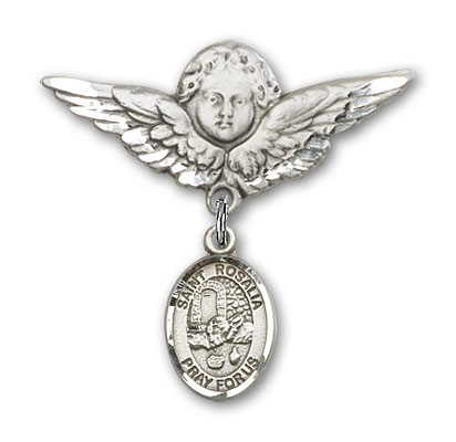 Pin Badge with St. Rosalia Charm and Angel with Larger Wings Badge Pin - Silver tone