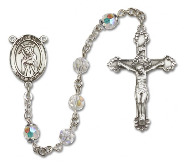 St. Regina Sterling Silver Heirloom Rosary Fancy Crucifix - Crystal