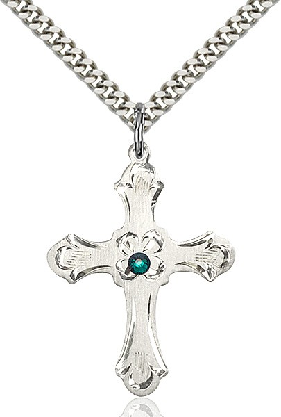 Budded Cross Pendant with Etched Border Birthstone Options - Emerald Green