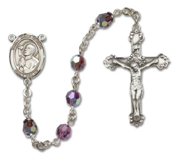 St. Rene Goupil Sterling Silver Heirloom Rosary Fancy Crucifix - Amethyst