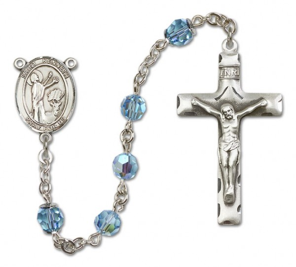 St. Kenneth Sterling Silver Heirloom Rosary Squared Crucifix - Aqua