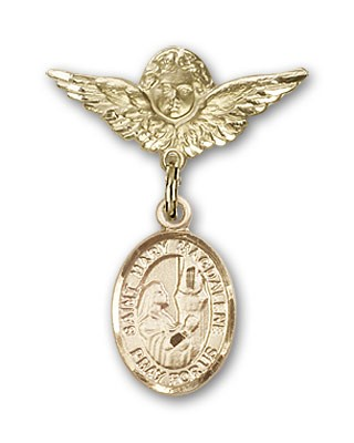 Pin Badge with St. Mary Magdalene Charm and Angel with Smaller Wings Badge Pin - Gold Tone