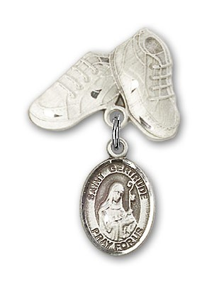Pin Badge with St. Gertrude of Nivelles Charm and Baby Boots Pin - Silver tone