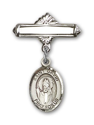 Pin Badge with St. David of Wales Charm and Polished Engravable Badge Pin - Silver tone