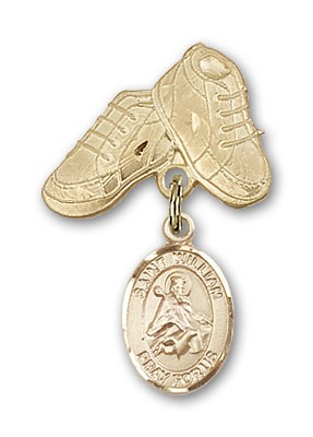 Pin Badge with St. William of Rochester Charm and Baby Boots Pin - 14K Solid Gold