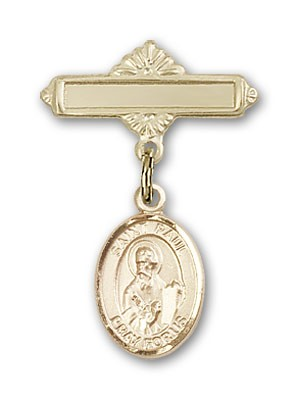 Pin Badge with St. Paul the Apostle Charm and Polished Engravable Badge Pin - Gold Tone