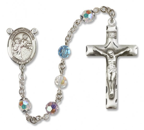 St. Nimatullah Sterling Silver Heirloom Rosary Squared Crucifix - Multi-Color