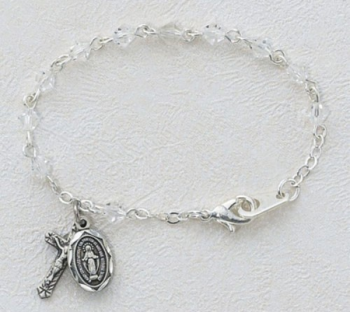 Baby Rosary Bracelet with Tin Cut Crystal Beads - Pewter