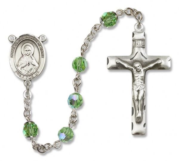 Immaculate Heart of Mary Sterling Silver Heirloom Rosary Squared Crucifix - Peridot